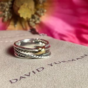 ❤️ David Yurman - X Crossover Ring with 18K Gold